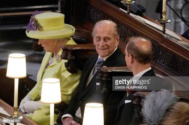 Britain's Queen Elizabeth II and Britain's Prince Philip Duke of Edinburgh and Britain's Prince Edward Earl of Wessex during the wedding ceremony of...