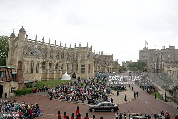 Britain's Queen Elizabeth II and Britain's Prince Philip Duke of Edinburgh arrive for the Order of The Garter Service at St Georges Chapel Windsor...