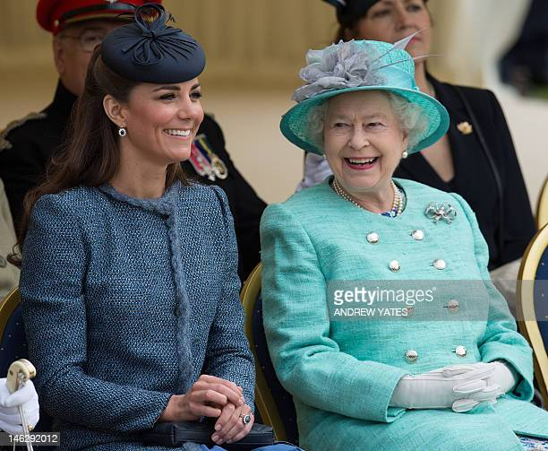 Britain's Queen Elizabeth II and Catherine Duchess of Cambridge react as they watch Prince William start a children's race during a sports...
