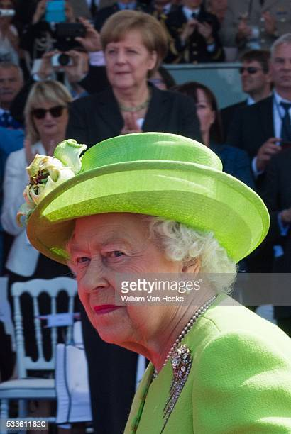 Britain's Queen Elizabeth II and German Chancellor Angela Merkel pictured at a ceremony as part of the events marking the 70th anniversary of the...