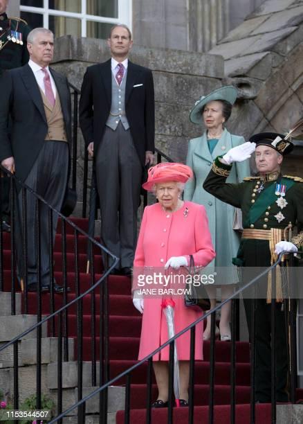Britain's Queen Elizabeth II and her children Britain's Prince Andrew Duke of York Britain's Prince Edward Earl of Wessex and Britain's Princess Anne...
