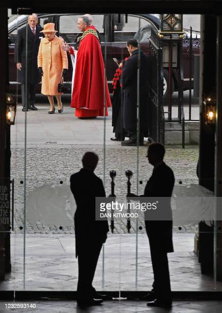 Britain's Queen Elizabeth II , and her husband Prince Philip , arrive to attend a Eucharist service at Westminster Abbey, in central London on...