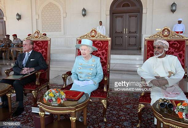 Britain's' Queen Elizabeth II and her husband Prince Philip attends an equestrian show which included the Omani Royal Cavalry in the presence of...