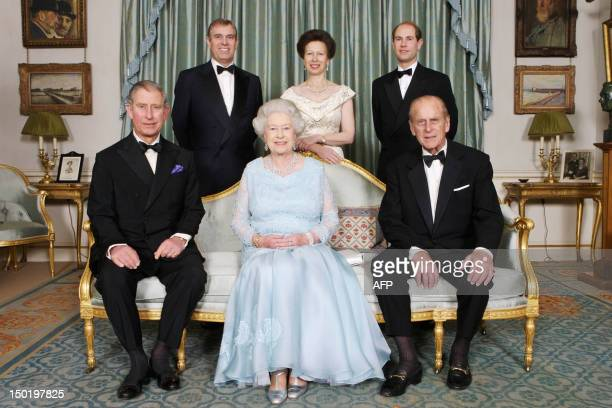 Britain's Queen Elizabeth II and Prince Philip are joined at Clarence House in London by Prince Charles Prince Edward Princess Anne and Prince Andrew...