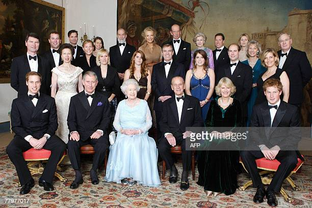 Britain's Queen Elizabeth II and Prince Philip are joined at Clarence House in London by family members on the occasion of a dinner hosted by HRH The...