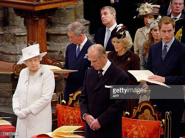 Britain's Queen Elizabeth II and Prince Philip are joined by family members in Westminster Abbey in London 19 November 2007 during a Service of...