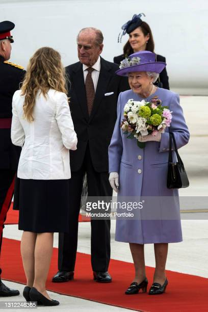 Britain's Queen Elizabeth II and Prince Philip arrive at Rome's airport of Ciampino. Rome April 3rd, 2014