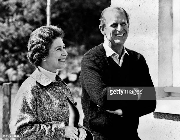 Britain's Queen Elizabeth II and Prince Philip, Duke of Edinburgh, pose at Balmoral Castle, near the village of Crathie in Aberdeenshire, on October...