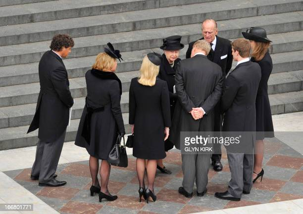 Britain's Queen Elizabeth II and Prince Philip, Duke of Edinburgh speak with Carol Thatcher's partner Marco Grass, Carol Thatcher, Sarah Thatcher,...