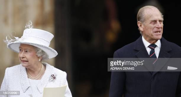 Britain's Queen Elizabeth II and Prince Philip leave Westminster Abbey in central London 19 November 2007 after a service of celebration to mark...