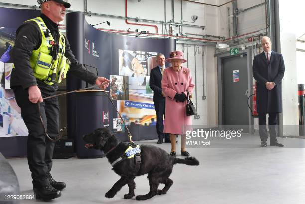 Britain's Queen Elizabeth II and Prince William Duke of Cambridge view a demonstration of a Forensic Explosives Investigation with explosives...