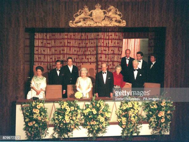 Britain's Queen Elizabeth II and the Duke of Edinburgh are joined by the Queens sister Princess Margaret and the Prince of Wales in the Royal Box at...