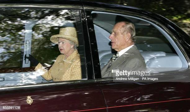 Britain's Queen Elizabeth II and the Duke of Edinburgh leave Crathie church in Crathie Kirk Aberdeenshire after attending the Sunday sermon