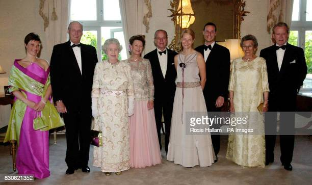 Britain's Queen Elizabeth II and the Duke of Edinburgh , with the Norwegian Royal Family at a dinner hosted by the Queen at the residence of the...