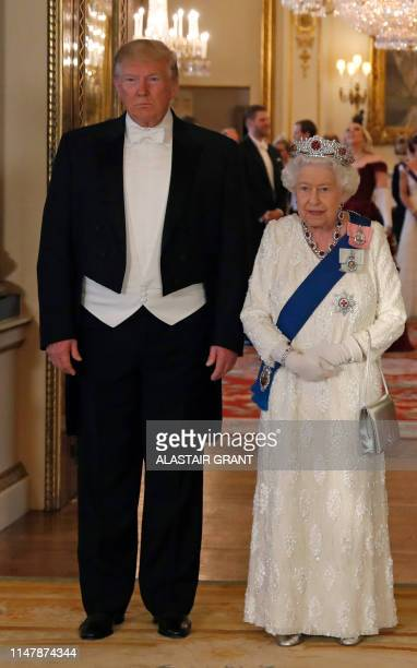 Britain's Queen Elizabeth II and US President Donald Trump pose for a photograph in the Music Room, ahead of a State Banquet in the ballroom, at...