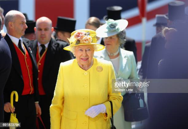 Britain's Queen Elizabeth II arrives ahead of the Investec Derby Festival 2017 at Epsom Downs Racecourse on June 3, 2017 in Epsom, England.