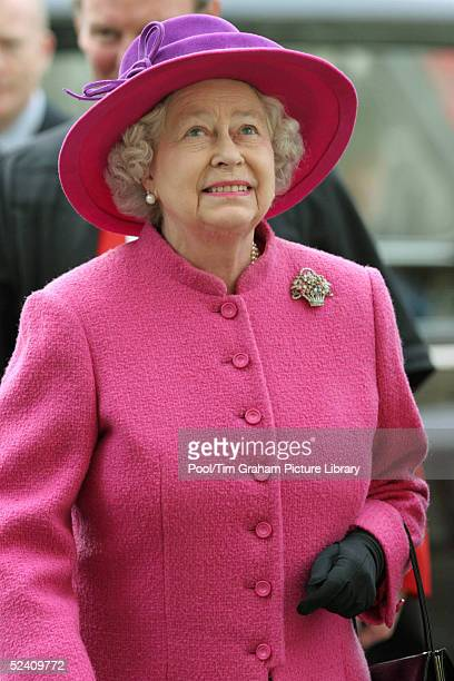 Britain's Queen Elizabeth II arrives at an Observance for Commonwealth Day 2005 service held at Westminster Abbey in central London on March 14 2005...