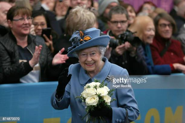 Britain's Queen Elizabeth II arrives at Hull train station during a visit to the city on November 16 2017 in Kingston upon Hull England