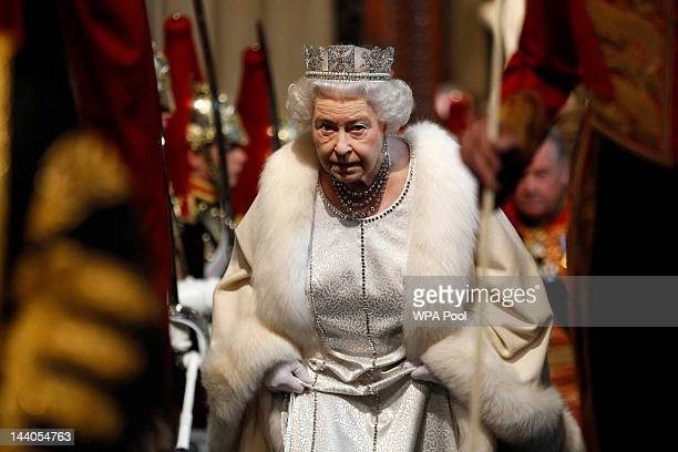 Britain's Queen Elizabeth II arrives at the Norman Porch of the Palace of Westminster for the State Opening of Parliament on May 09 2012 in London...