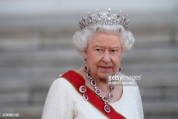 Britain's Queen Elizabeth II arrives for a receiving line and state banquet with German President Joachim Gauck at the presidential Bellevue Palace...