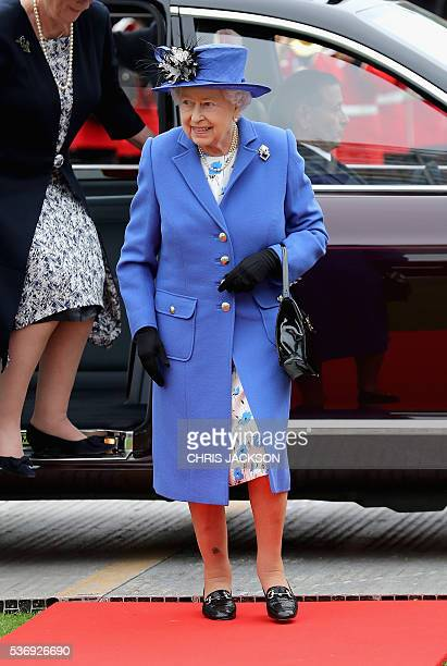 Britain's Queen Elizabeth II arrives for a visit to the Honourable Artillery Company in London on June 1 2016 The engagement marks the Queen becoming...