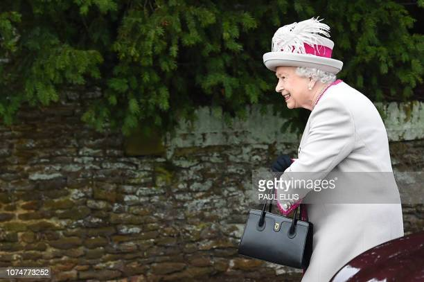 Britain's Queen Elizabeth II arrives for the Royal Family's traditional Christmas Day service at St Mary Magdalene Church in Sandringham Norfolk...