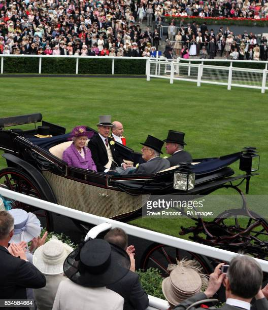 Britain's Queen Elizabeth II arrives for the second day at Ascot Racecourse Berkshire