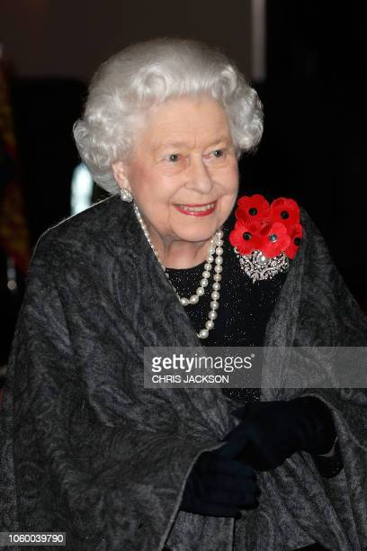 Britain's Queen Elizabeth II arrives to attend the annual Royal British Legion Festival of Remembrance at the Royal Albert Hall in London on November...