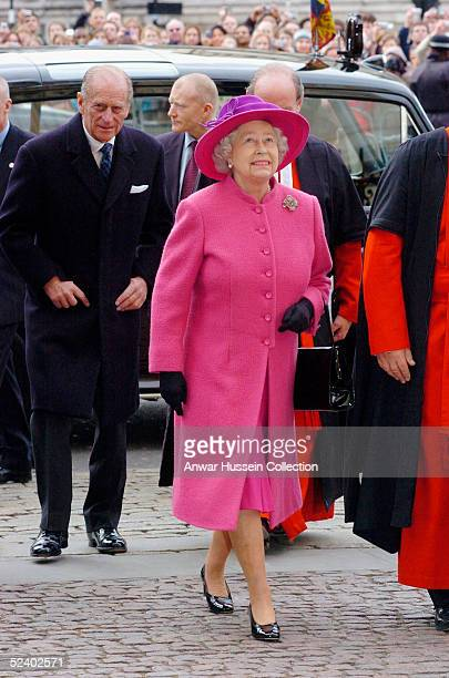 Britain's Queen Elizabeth II arrives with HRH The Duke of Edinburgh for an Observance for Commonwealth Day 2005 service held at Westminster Abbey in...