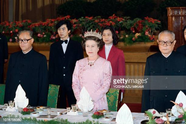 Britain's Queen Elizabeth II attend a banquet with President of the People's Republic of China Li Xiannian and Premier of the People's Republic of...