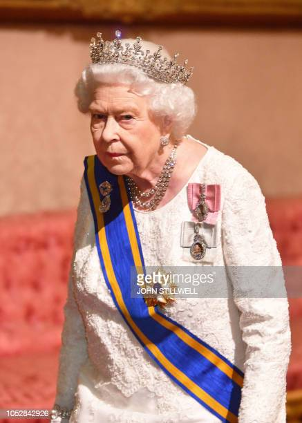 Britain's Queen Elizabeth II attends a State Banquet in honour of King WillemAlexander and Queen Maxima of the Netherlands at Buckingham Palace in...