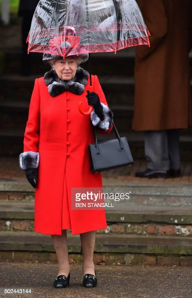 Britain's Queen Elizabeth II attends a traditional Christmas Day Church Service at Sandringham in eastern England on December 25 2015 STANSALL
