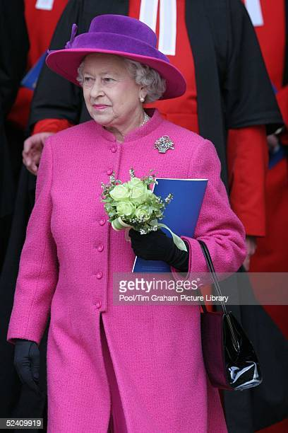 Britain's Queen Elizabeth II attends an Observance for Commonwealth Day 2005 service held at Westminster Abbey in central London on March 14 2005...