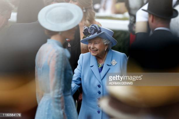 Britain's Queen Elizabeth II attends on day one of the Royal Ascot horse racing meet, in Ascot, west of London, on June 18, 2019. - The five-day...