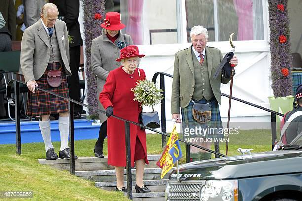 Britain's Queen Elizabeth II attends the annual Braemar Gathering in Braemar central Scotland on September 5 2015 The Braemar Gathering is a...