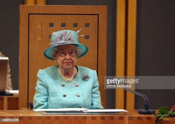 Britain's Queen Elizabeth II attends the opening session of the National Assembly at the Senedd in Cardiff on June 7 2016 / AFP / POOL / Steve Parsons