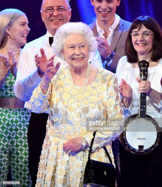 Britain's Queen Elizabeth II attends The Queen's Birthday Party concert on the occassion of Her Majesty's 92nd birthday at the Royal Albert Hall in...