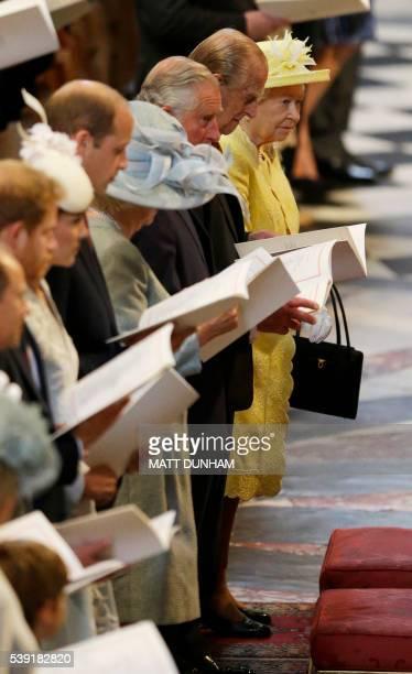 Britain's Queen Elizabeth II, Britain's Prince Philip, Duke of Edinburgh, Britain's Prince Charles, Prince of Wales, Britain's Camilla, Duchess of...