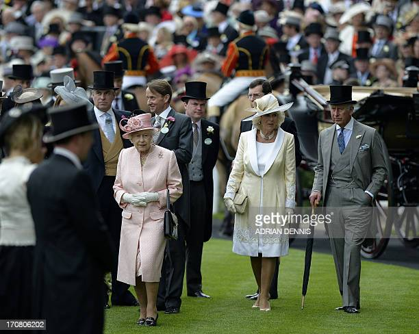 Britain's Queen Elizabeth II Camilla The Duchess of Cornwall Prince Charles The Prince of Wales and Prince Andrew The Duke of York walk through the...
