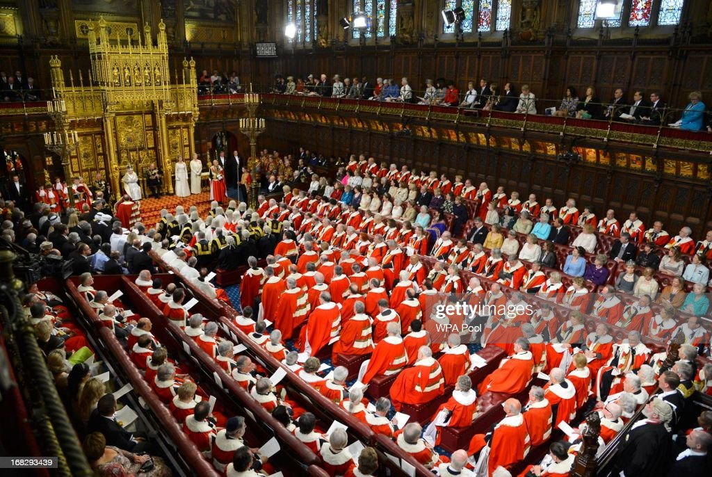 Britain's Queen Elizabeth II delivers her speech during the State Opening of Parliament on May 8, 2013 in London, England. Queen Elizabeth II unveiled the coalition government's legislative programme in a speech delivered to Members of Parliament and Peers in The House of Lords. Proposed legislation is expected to be introduced on toughening immigration regulations, capping social care costs in England and setting a single state pension rate of 144 GBP per week.
