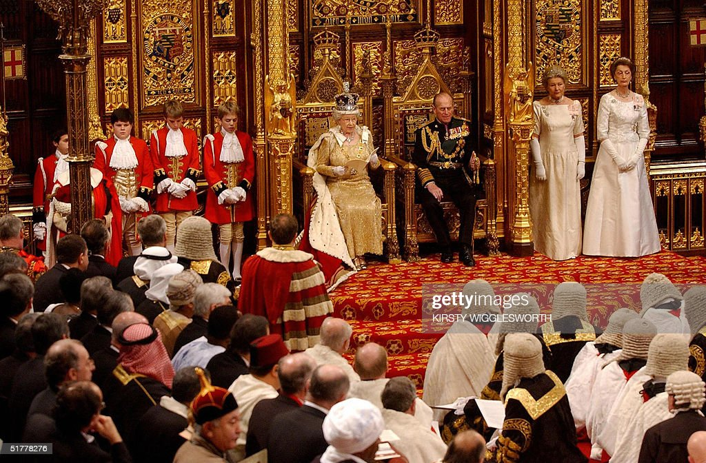 Britain's Queen Elizabeth II delivers her speech in The Chamber of The House of Lords, Westminster in London 23 November 2004. Security was the key theme of the queen's speech.