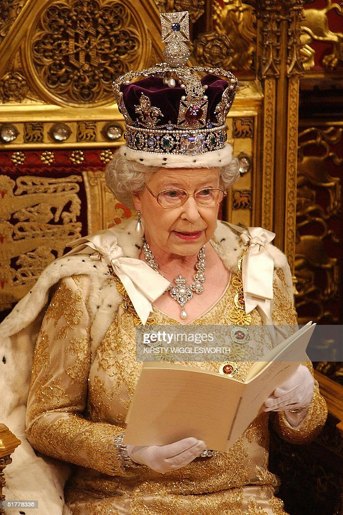 Britain's Queen Elizabeth II delivers her speech in The Chamber of The House of Lords, Westminster, in London 23 November 2004. Security was the key theme of the queen's speech.