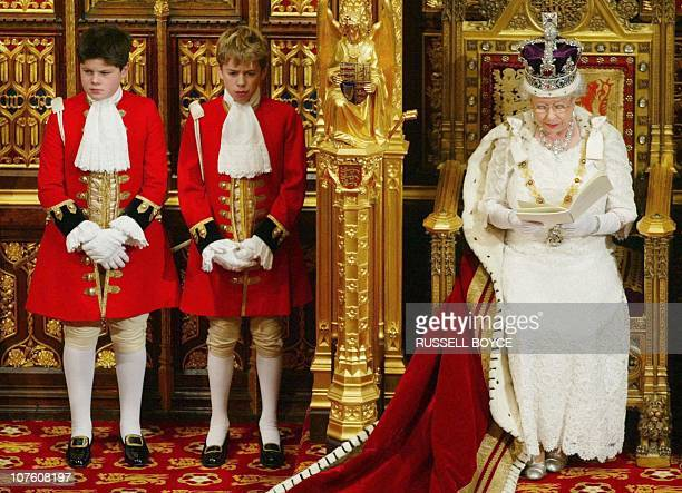 Britain's Queen Elizabeth II delivers her speech to members of the House of Lords and the House of Commons during the State Opening of Parliament in...