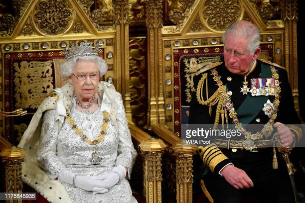 Britain's Queen Elizabeth II delivers the Queen's Speech during the State Opening of Parliament at the Palace of Westminster on October 14, 2019 in...