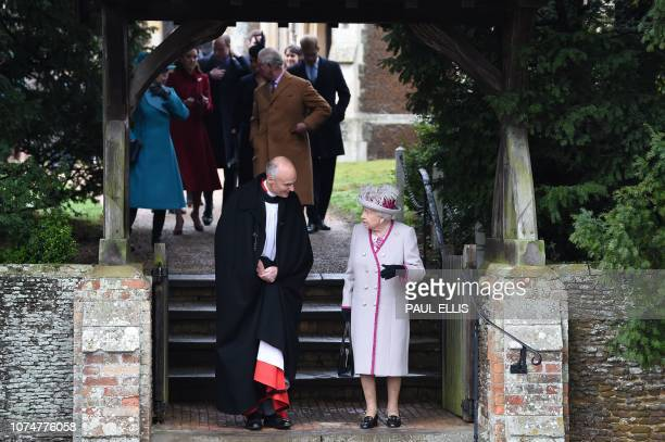 Britain's Queen Elizabeth II departs after the Royal Family's traditional Christmas Day service at St Mary Magdalene Church in Sandringham Norfolk...