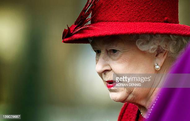 Britain's Queen Elizabeth II departs Lambeth Palace after attending a Diamond Jubilee multifaith reception in London on February 15 2012 The event...