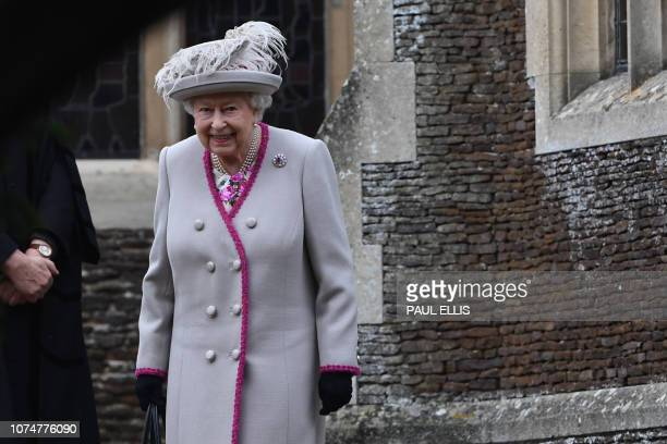 Britain's Queen Elizabeth II departs the Royal Family's traditional Christmas Day service at St Mary Magdalene Church in Sandringham Norfolk eastern...