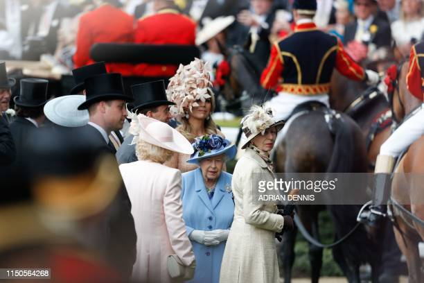 Britain's Queen Elizabeth II Dutch Queen Maxima Britain's Princess Anne Princess Royal Britain's Camilla Duchess of Cornwall and Britain's Prince...