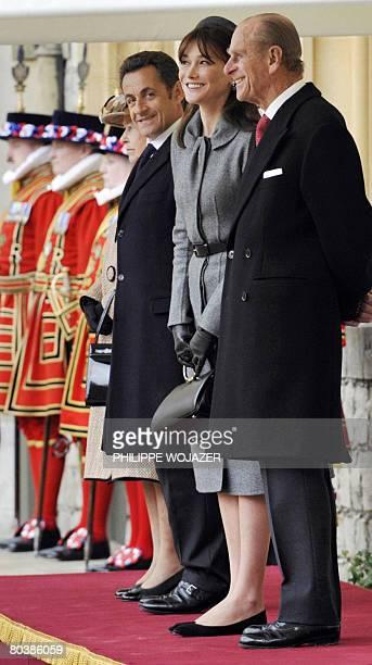 Britain's Queen Elizabeth II France's President Nicolas Sarkozy his wife Carla BruniSarkozy and the Duke of Edinburgh Britain's Prince Philip attend...