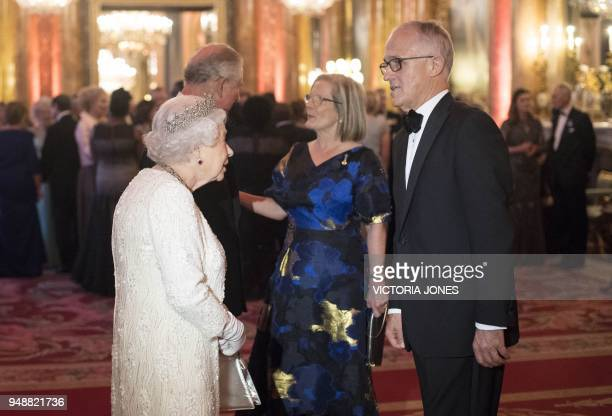 Britain's Queen Elizabeth II greets Australia's Prime Minister Malcolm Turnbull in the Blue Drawing Room during a drinks reception before The Queen's...